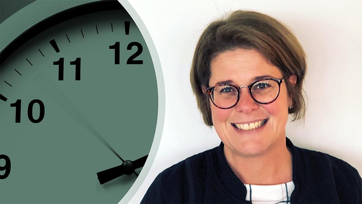 Till vänster en bild på en klocka, till höger en bild på Ulrika Jigman.