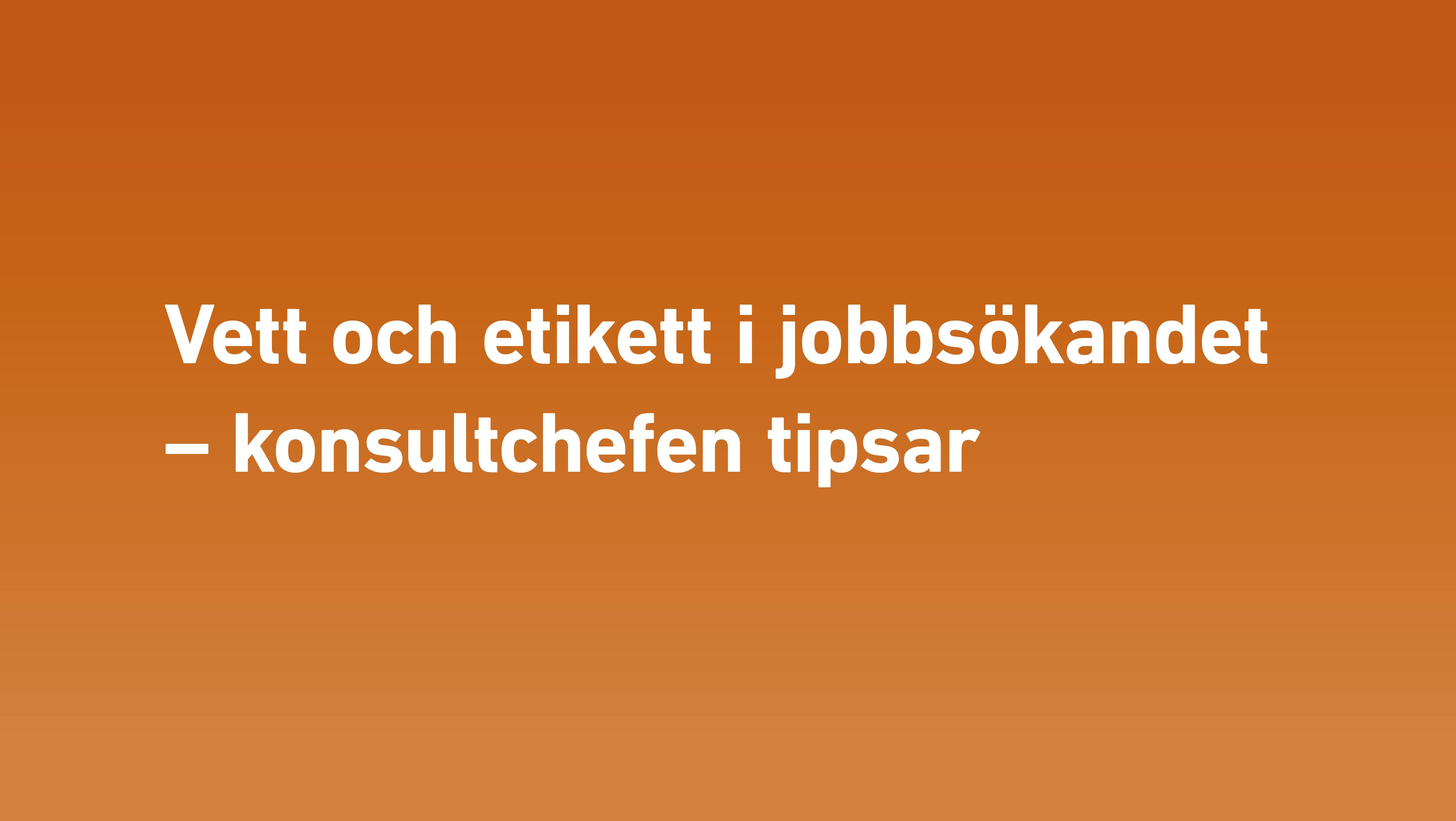 Orange bakgrund med text i vitt: